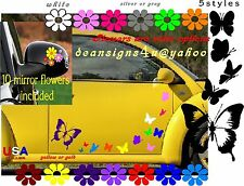 42 BUTTERFLY FLOWERS SET car mirror Rainbow color Purple girl gift Large Boat