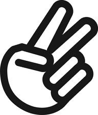 2 x PEACE SCISSORS chopped BLACK HAND MOD FUNNY HUMOR DRIFT TURBO UTE CAR