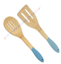 Turner and Slotted Spoon 30cm Durable Wooden Kitchen Utensil Spatula Blue
