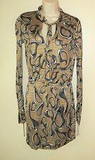 HALSTON HARITAGE Women's 6 Brown Black Front Tie Neck 100% Silk Knit Dress