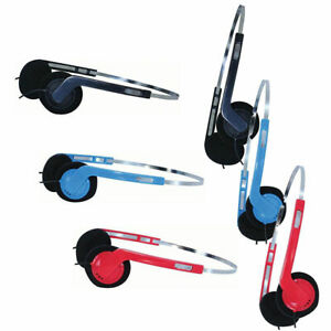 Lightweight stereo headphones classic 80's retro style in black blue or red