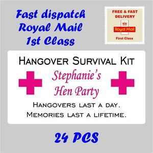 Personalised Stickers HANGOVER SURVIVAL KIT Hen Party Night Drunk Stag Wed H14