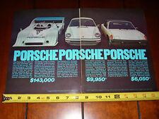 1974 PORSCHE 911 - 914 - 917 - ORIGINAL VINTAGE 2 PAGE AD