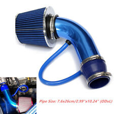 1Set 3'' 75mm Universal Car Blue Cold Induction Air Intake Pipe Kit + Air Filter