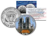 NOTRE DAME DE PARIS * Famous Churches * Colorized JFK Half Dollar US Coin France