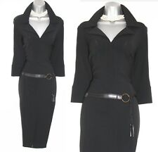 Rare Karen Millen Black Jersey Waist Detail Military Safari Trench Dress 12 EU40