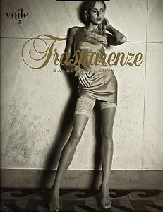 TRASPARENZE Voile Stockings Sheer Deep Lace Stockings - Bianco & Various Sizes