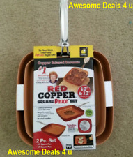 Red Copper Square Frying Pan Cookware 10 & 12 Inch *Set of 2* As Seen On TV NEW