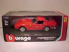 Ferrari 250 GTO Die-cast Sports Car 1:24 Bburango Race and Play 8 inch Red