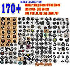 170pcs Wall Art Vinyl Record Wall Clock Set Laser Cut Cnc Vector Dxf Cdr Ai