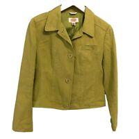 Talbots Womens Jacket Petite Sz 8 Green Irish Linen Blazer Lined Button Down Top