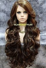 HUMAN HAIR BLEND LACE FRONT FULL WIG EXTRA LONG WAVY LAYERED BROWN BLONDE MIX