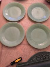 "Vintage Set of 4 Fire King Jane RAY Jadite Jadeite 9"" Dinner Plates"