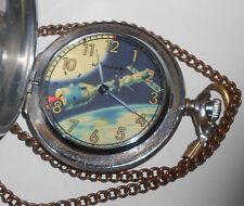Soviet USSR Molnija pocket watch. 3602. Apollo-Soyuz space ship dial.