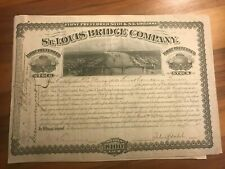 New Listing1884 St Louis Bridge Company Railway scripophily stock certificate bond Shares