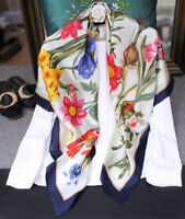 """WOMEN 100% MULBERRY SILK 41""""SQUARE SCARF SHAWL FLORAL PRINT Hand Rolled Gift"""