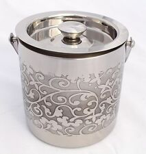 Handcrafted Double Walled Ice Bucket Etching Flower finish Stainless Steel