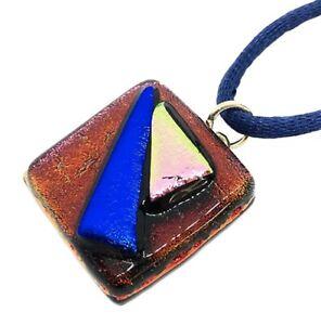 Handmade Glass Pendant Dichroic Glass Pendant Fused Glass Pendant 2cm x 2cm
