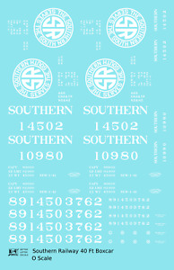 K4 O Decals Southern Railway 40 Ft Boxcar White