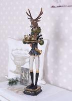 Kerzenleuchter Hirsch Figur Uniform Antik Teelichthalter Leuchter Shabby 58 cm
