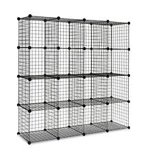 16 Cube Metal Wire Storage Cabinet Black