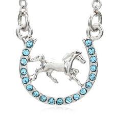 Aqua Blue Horse Mustang Pony Horseshoe Necklace Pendant Good Luck Charm Cowboy