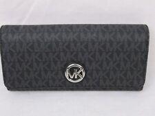 Michael Kors PVC MK Signature Fulton Flap CONTINENTAL Carryall Wallet Black