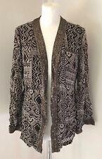 EAST Ladies Brown & Beige Sequin Indian Inspired Sheer Open Cardigan Top Size 12