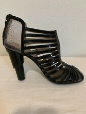 Chanel Pumps Caged PVC HEEL Patent Leather 37 1/2