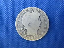 1901 U.S. BARBER SILVER QUARTER COIN