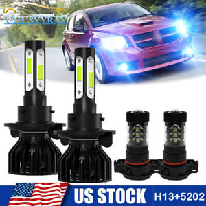 For 2007-2012 Dodge Caliber 8000K LED Front Headlight Hi&Low Beam Fog Light Ki