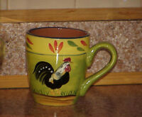 "Baum Brothers PROVENCE ROOSTER COLLECTION Mug Handled Folk Art Roosters 4.25"" #2"
