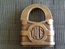 RARE ANTIQUE 1870's LARGE YALE MFG CO BRASS LOCK PRISON JAIL PADLOCK