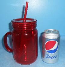 NEW RUBY RED ACRYLIC PLASTIC 20 oz MASON JAR TUMBLER MUG CUP/GLASS w LID & STRAW