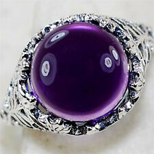 Huge 2.3ct Amethyst 925 Silver Wedding Vintage Prom Man Women Ring Size 6-10