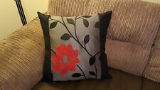 22 x 22 Trendy Red, Black and Silver cushion cover.