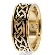 Unique Celtic Men's Wedding Band Ring in Two Tone Solid 10K Gold & Black Enamel
