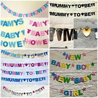 Personalised Baby Shower BANNER its a boy girl pink blue mummy to be bunting