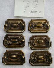Antik Möbel Beschlag - 6 Griffe mit eckiger Platte - Metall - 72 von 72 (A 731)