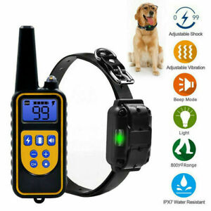 Dog Training Shock Collar Electric Remote Waterproof Rechargeable LCD 800 Yard