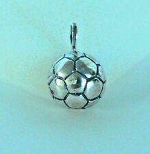 925 STERLING SOLID SILVER FOOTBALL  SOCCER BALL CHARM PENDANT