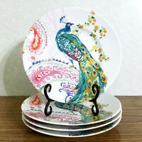 """Peacock Salad Plate Set 4 Dishes 8.5"""" Colorful Bird Paisley 222 Fifth Andalusia"""