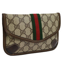 GUCCI GG Shelly Line Mini Clutch Hand Bag Pouch Brown PVC Leather G03692i