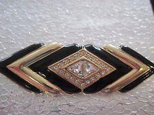 Swarovski Swan Signed Gorgeous Art Decco Brooch Elegant Enamel and Crystals 258