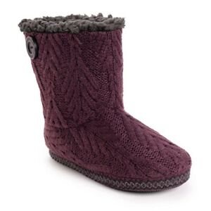 Muk Luks Purple Knit Indoor/Outdoor Bootie Slippers - Women's 11/12