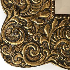 "Mirror Tooled Brass On Wood Frame Square Diamond Beveled 18"" Vintage Antique"