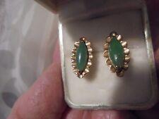 14 KT  GREEN JADE VINTAGE  SCREW BACK  EARRINGS  MARKED 14 KT