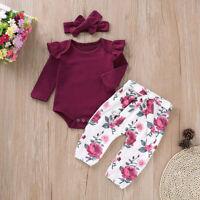 3pcs Newborn Infant Baby Girl Top Romper Long Pants Headband Outfits Clothes Set