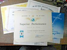 Vietnam War Era Usaf Lot of 7 Civilian Performance Training Certificates Named