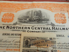 Northern Central Railway 1.000 $ Anleihe von 1924 mit Coupons - alle mit Lokabb.